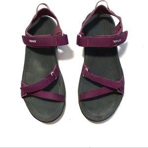 Teva purple Velcro strap hiking sandals